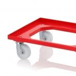 Kastikäru ABS-plastist 620x420x100mm, punane, nailonrattad
