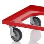 Kastikäru ABS-plastist 620x420x100mm, punane hallist kummist rattad
