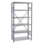 Extension bay 2500x1000x800 200kg/shelf,6 shelves, blue/Zn