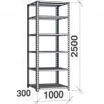 Metallriiul 2500x1000x300, 6 plaati, 120kg/plaat, hall