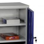Töökojakapp 2 riiuliga 900x900x450 RAL 7035/5010 kokkupandav