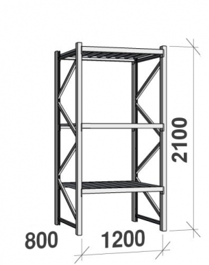 Maxi starter bay 2100x1200x800 600kg/level,3 levels with steel decks