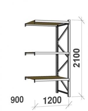 Laoriiul jätkuosa 2100x1200x900 600kg/tasapind,3 PLP tasapinda