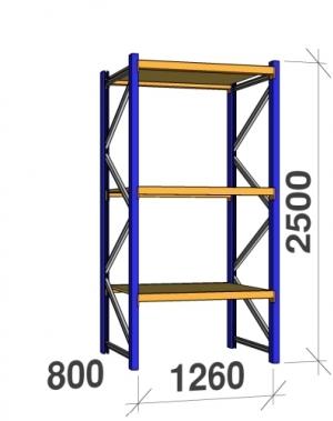 Põhiosa 2500x1260x800 450kg/tasapind, 3 puitlaastplaadist tasapinda