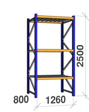 Põhiosa 2500x1260x800 450kg/tasapind, 3 tsinkplekk tasapinda