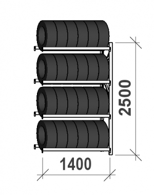 Rehviriiul, jätkuosa 2500x1400x500, 4 korrust, 600kg/tasapind