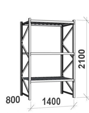 Laoriiul põhiosa 2100x1400x800 600kg/tasapind,3 tsinkplekk tasapinda