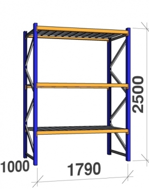 Starter bay 2500x1790x1000 360 kg/level,3 levels with steel decks
