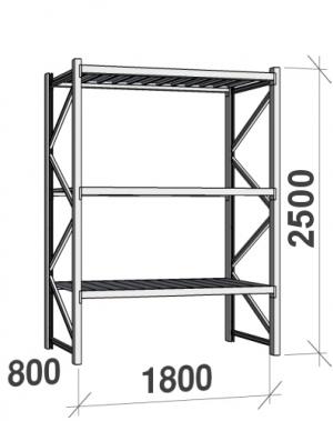 Laoriiul põhiosa 2500x1800x800  480kg/tasapind,3 tsinkplekk tasapinda