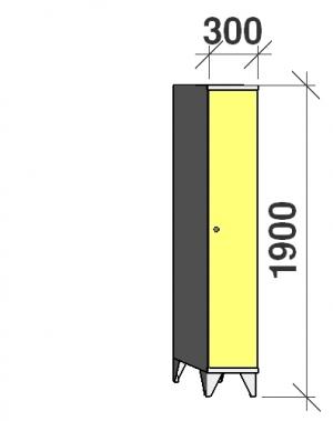 Riidekapp 1x300, 1900x300x545, pikk uks