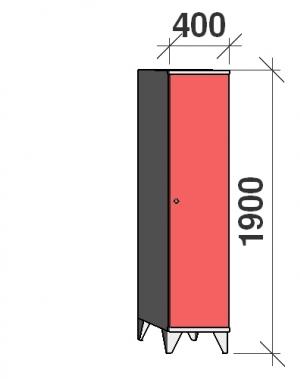 Riidekapp 1x400, 1900x400x545, pikk uks