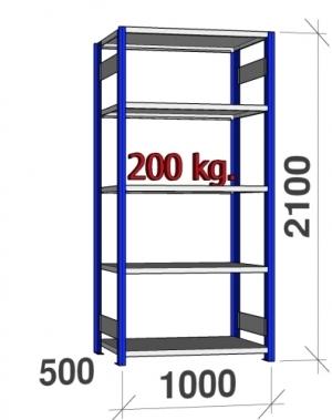 Laoriiul põhiosa 2100x1000x500 200kg/riiuliplaat,5 plaati, sinine/Zn