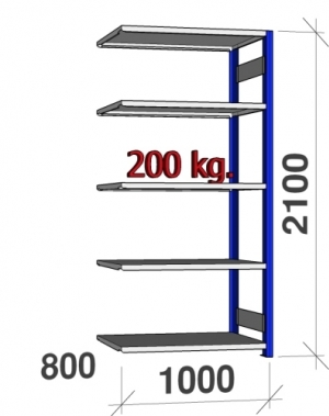 Laoriiul lisaosa 2100x1000x800 200kg/riiuliplaat,5 plaati, sinine/Zn