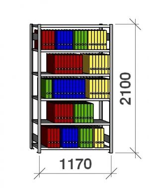 Arhiiviriiul põhiosa 2100x1170x300 200kg/riiuliplaat,6 plaati
