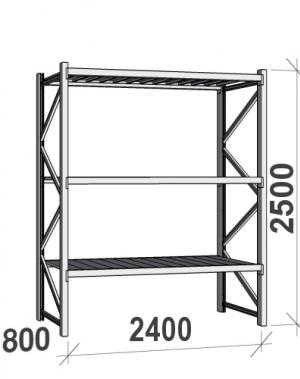 Laoriiul põhiosa 2500x2400x800 300kg/tasapind,3 tsinkplekk tasapinda