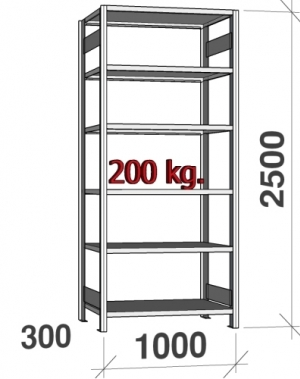 Laoriiul põhiosa 2500x1000x300 200kg/riiuliplaat,6 plaati