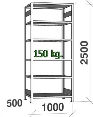 Laoriiul põhiosa 2500x1000x500 150kg/riiuliplaat,6 plaati
