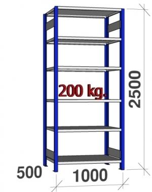 Laoriiul põhiosa 2500x1000x500 200kg/riiuliplaat,6 plaati, sinine/Zn