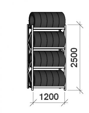 Rehviriiul, põhiosa 2500x1200x500, 4 korrust, 600kg/tasapind