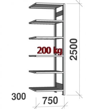 Laoriiul lisaosa 2500x750x300 200kg/riiuliplaat,6 plaati