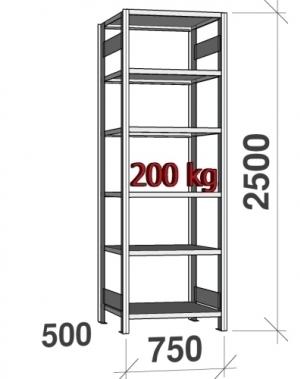 Laoriiul põhiosa 2500x750x500 200kg/riiuliplaat,6 plaati