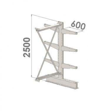 Grenställ följesektion 2500x1000x2x600,6 x arm