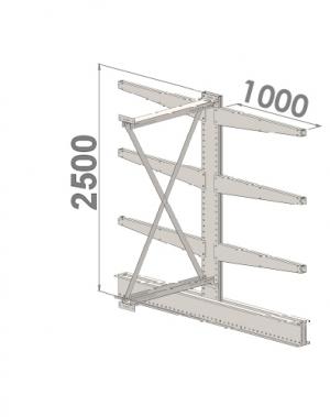 Grenställ följesektion 2500x1000x2x1000,6 x arm