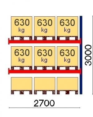 Kaubaaluste riiuli jätkuosa 3000x2700, 630kg/alus, 9 EUR alust OPTIMA