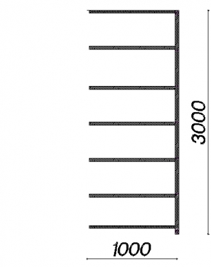 Laoriiul lisaosa 3000x1000x600 200kg/riiuliplaat,7 plaati
