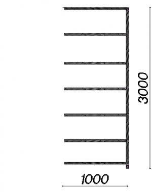 Laoriiul lisaosa 3000x1000x800 200kg/riiuliplaat,7 plaati