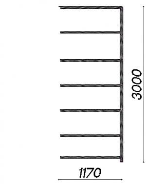 Laoriiul lisaosa 3000x1170x600 150kg/riiuliplaat,7 plaati