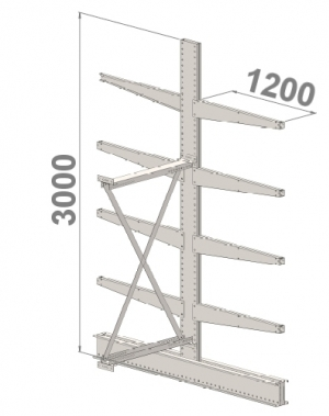 Grenställ följesektion 3000x1000x2x1200,8 x arm