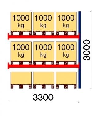 Pallställ följesektion 3000x3300 1000kg/9 FIN pallar OPTIMA