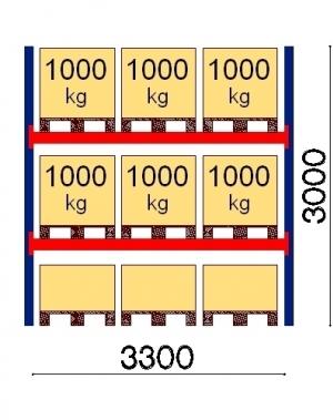 Pallställ startsektion 3000x3300 1000kg/9 FIN pallar OPTIMA