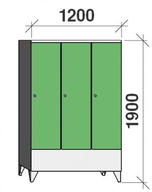 Riidekapp 3x400, 1900x1200x545, vaheseinaga