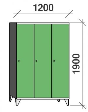 Riidekapp 3x400, 1900x1200x545, pikk uks, vahesein