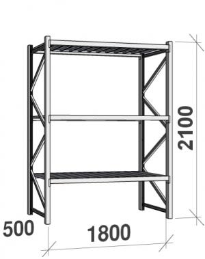 Laoriiul põhiosa 2100x1800x500 480kg/tasapind,3 tsinkplekk tasapinda
