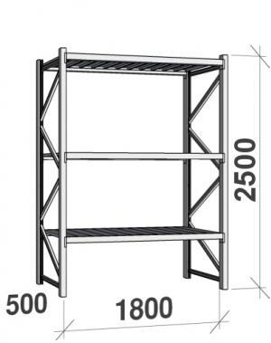 Laoriiul põhiosa 2500x1800x500 480kg/tasapind,3 tsinkplekk tasapinda