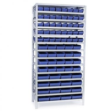 Backhylla 2100X1000X300 mm, 76 plastlådor