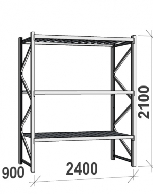Laoriiul põhiosa 2100x2400x900 300kg/tasapind,3 tsinkplekk tasapinda