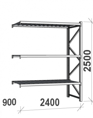 Laoriiul jätkuosa 2500x2400x900 300kg/tasapind,3 tsinkplekk tasapinda