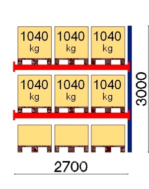 Kaubaaluse riiul lisaosa 3000x2700 1041kg/alus,9 alust