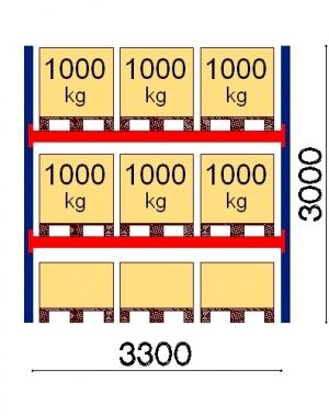 Kaubaaluse riiul põhiosa 3000x3300 1000kg/alus,9 alust