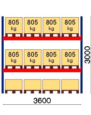 Kaubaaluse riiul põhiosa 3000x3600 805kg/alus,12 alust
