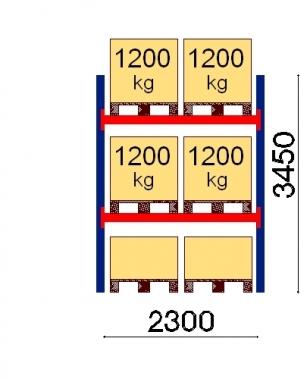 Kaubaaluse riiul põhiosa 3450x2300 1200kg/alus,6 alust