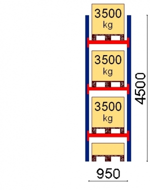 Kaubaaluse riiul põhiosa 4500x950 3500kg/alus,4 alust