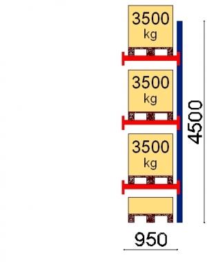 Kaubaaluse riiul lisaosa 4500x950 3500kg/alus,4 alust