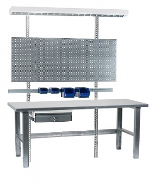 Töölaud 2000x800+sahtli, perfoseina, lambi, plastkarpide ja tsingitud jalgadega