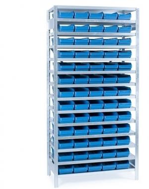 Small parts shelving 2100x1000x300, 65 bins 300x180x95