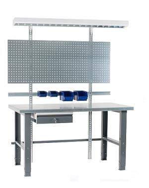 Töölaud 2000x800 + sahtli, perfoseina, lambi, plastkarpide ja värvitud jalgadega